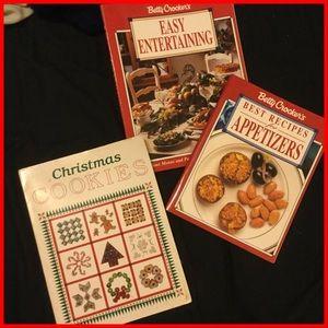 Vtg Xmas Cookie & 2 Entertaining books
